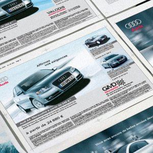 BTL komunikácia Audi France | brožúry, produktové listy, inzercia | klient: Premium automotive consulting