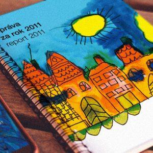 Výročná správa Nadácie Orange zarok 2011 Ilustrovaná dielami detí zAutistického centra Andreas, jednou z nadácií, sktorými Nadácie Orange spolupracuje | klient: Wiktor Leo Burnett